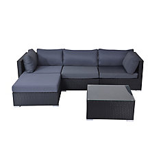 Savosa 5-Piece All-Weather Wicker Patio Sectional Set with Grey Cushions