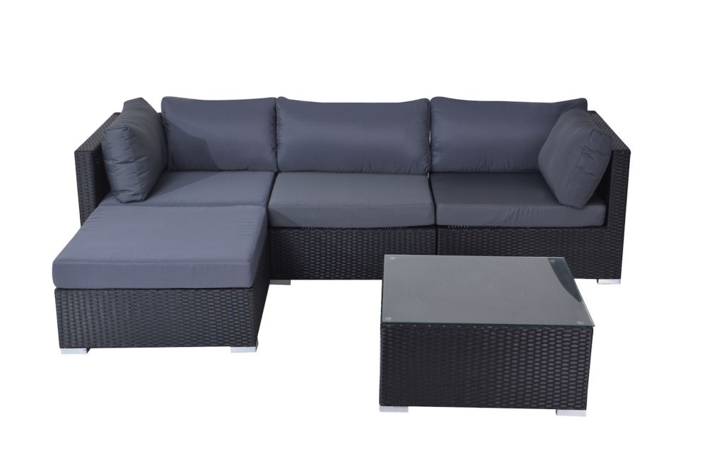 Savosa 5 Piece All Weather Wicker Patio Sectional Set With Grey Cushions