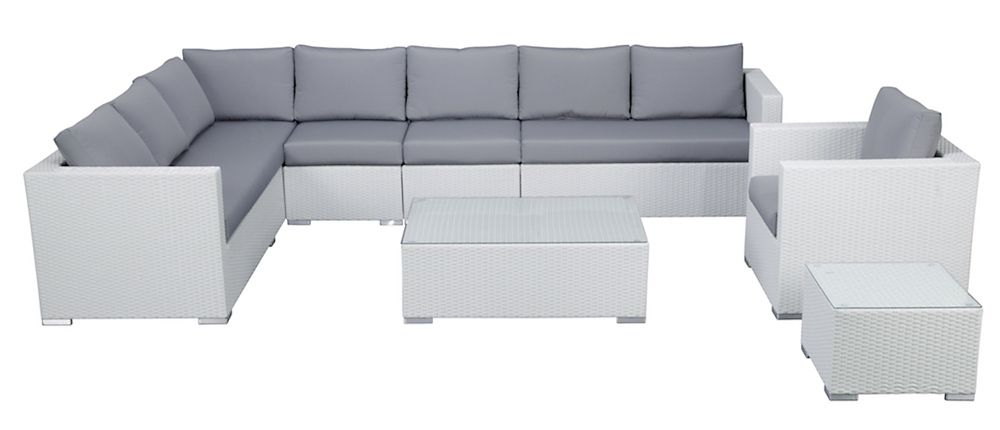 White Wicker Sectional Lounge - L-Shape Outdoor Furniture Set - XXL