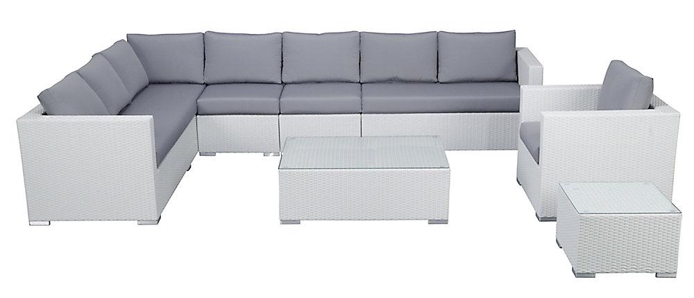 Velago Salon de jardin en rotin blanc - coussins gris - XXL | Home ...