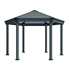 Roma 12 ft. x 13 1/2 ft. Premium Hexagonal Polycarbonate Top Gazebo in Black