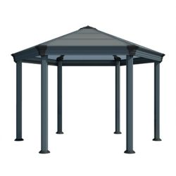 Palram Roma 12 ft. x 13 1/2 ft. Premium Hexagonal Polycarbonate Top Gazebo in Black