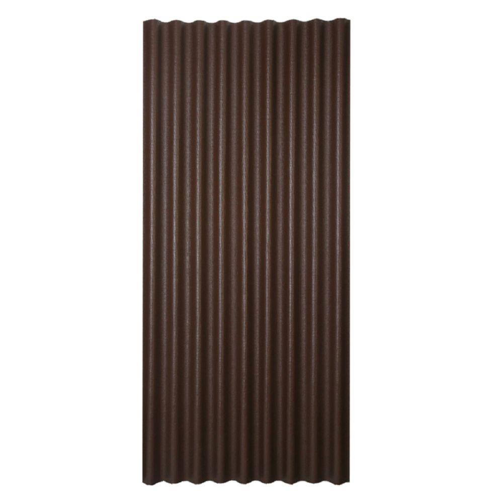 Panneau de toiture asphaltée ondulée brun 36po x 79po