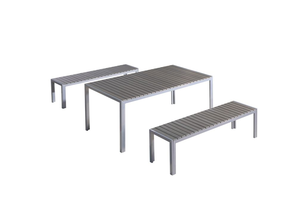 Modern Outdoor Dining Set - Table and Benches Poly Wood - NARDO grey
