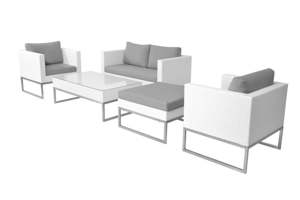 White Wicker Conversation Set - Modern Outdoor Furniture - CREMA