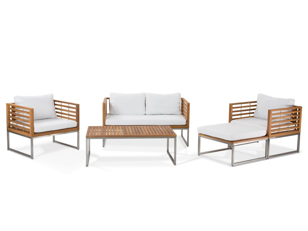 Outdoor Conversation Set - Steel and Teak - Modern Furniture - BERMUDA