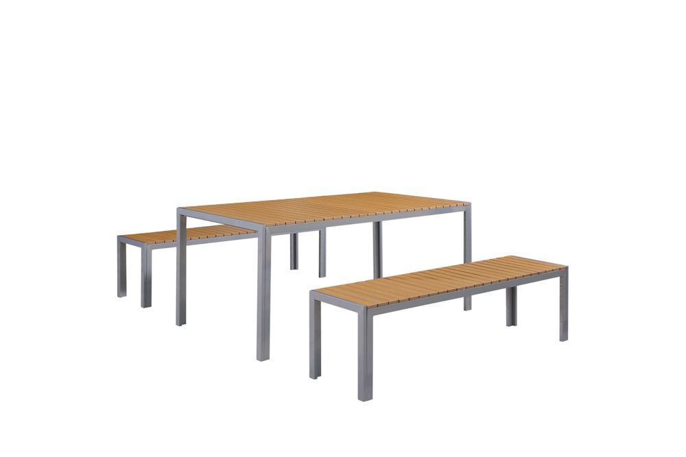 Garden Dining Furniture - Poly Wood Table and Benches - NARDO Brown