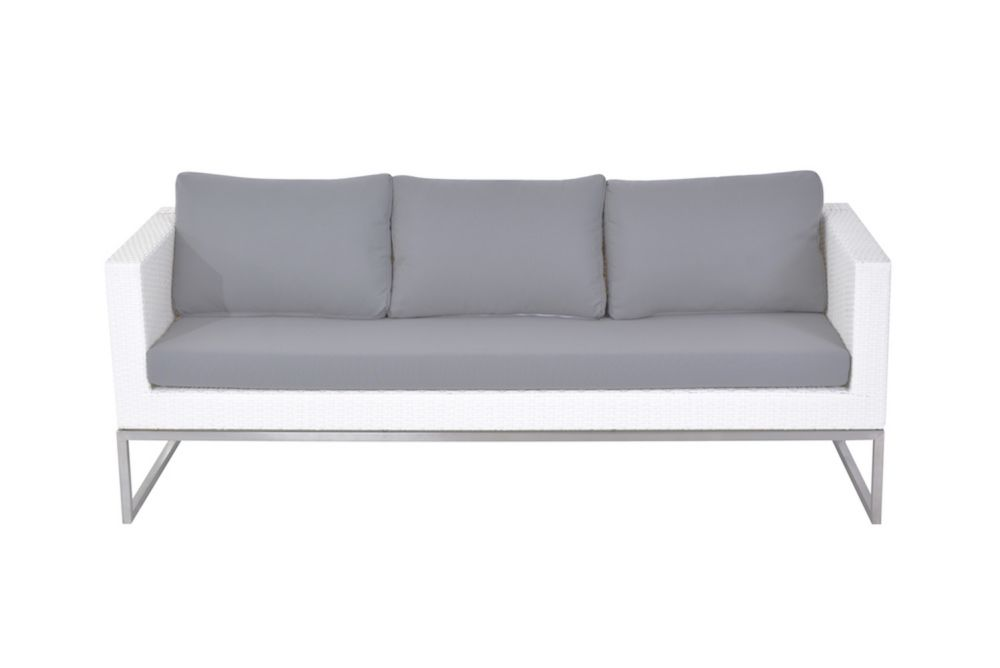 Outdoor Sofa 3 Seater - Stainless Steel and Wicker - CREMA White