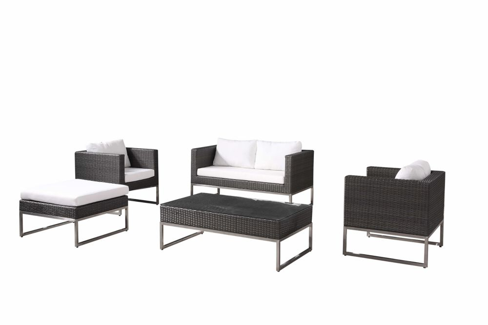 Modern Outdoor Conversation Set - Wicker Patio Furniture - CREMA Brown