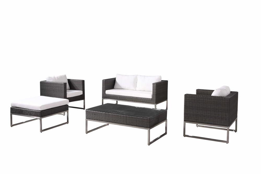 Modern Outdoor Conversation Set - Wicker Patio Furniture - CREMA Brown