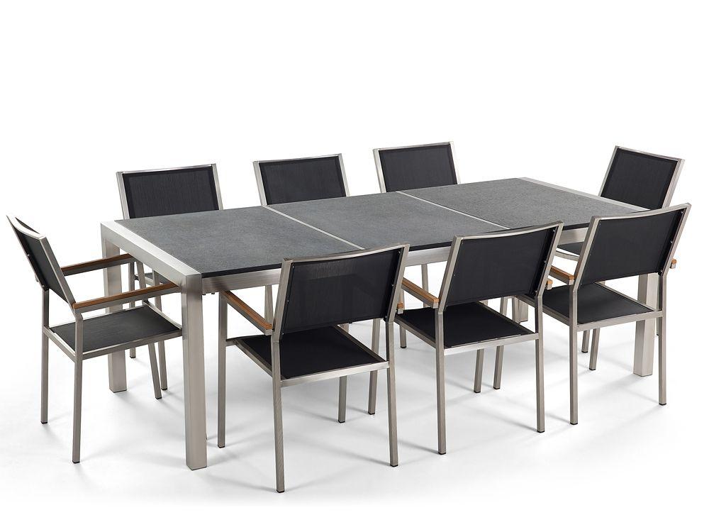 Table de jardin acier inox - plateau granit triple noir poli 220 cm avec 8 chaises en rotin - Gro...