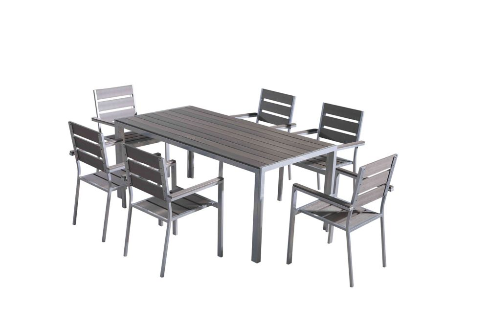 Aluminium and Poly Wood Outdoor Dining Set - Table & 6 Chairs - VERNIO