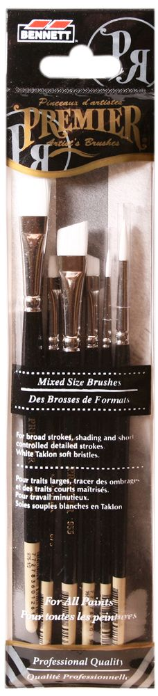 BENNETT 6 Pack Mixed, Pro Artist Brushes