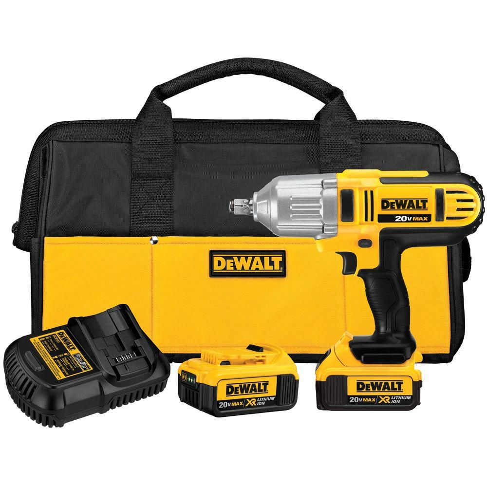 DEWALT 20V MAX Lithium-Ion 1/2-Inch Cordless Impact Wrench Kit with 2 Batteries, Charger and Contractor Bag