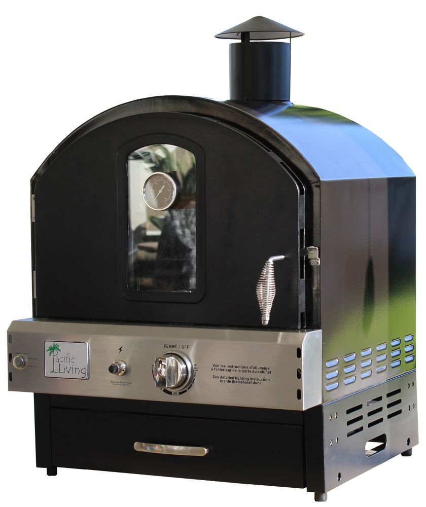 Pacific Living Black Powder Coated Pizza Oven