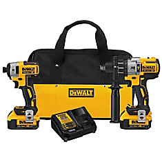 20V MAX XR Lithium-Ion Brushless Hammer Drill & Impact Driver Combo Kit with 2 Batteries & Charger