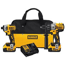 DEWALT 20V MAX XR Li-Ion Cordless Brushless Hammer Drill/Impact Combo Kit (2-Tool) w/ 2 Batteries 4 Ah and Charger