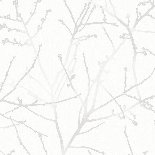 Innocence Branches Papier Peint Blanc/Argent/Gris