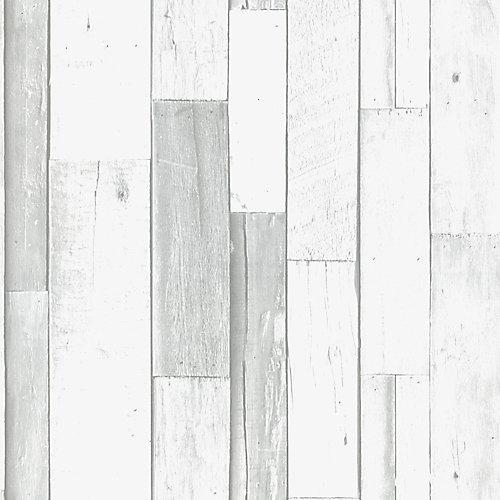 Planche Rustique Papier Peint Gris/Blanc