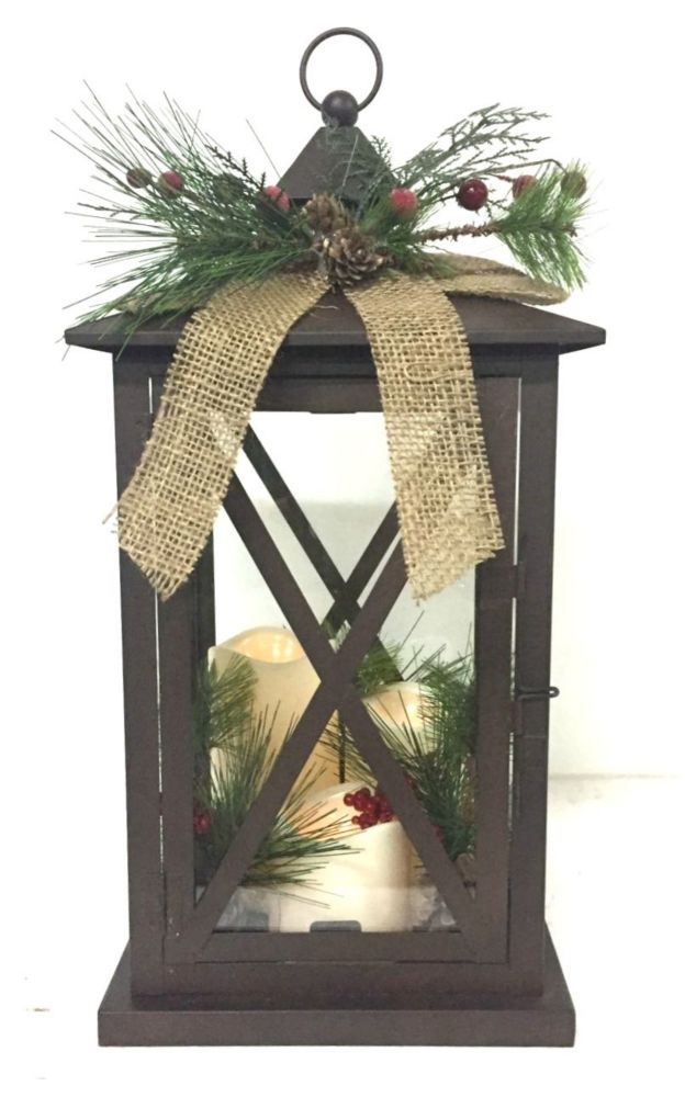 18 Inch LED Holiday Lantern-Brown
