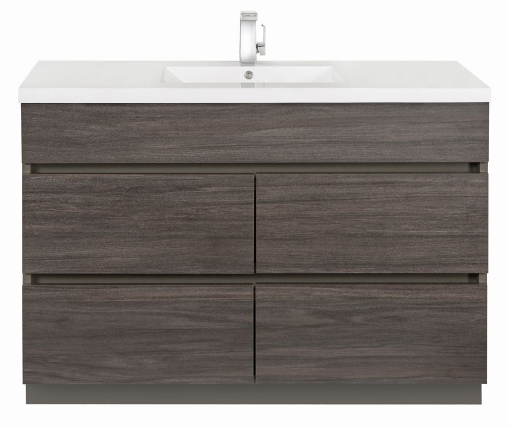 Meuble-lavabo Karoo Ash de 48po de la collection Boardwalk avec lavabo simple