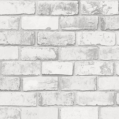 Superfresco Easy Brick White Grey Wallpaper