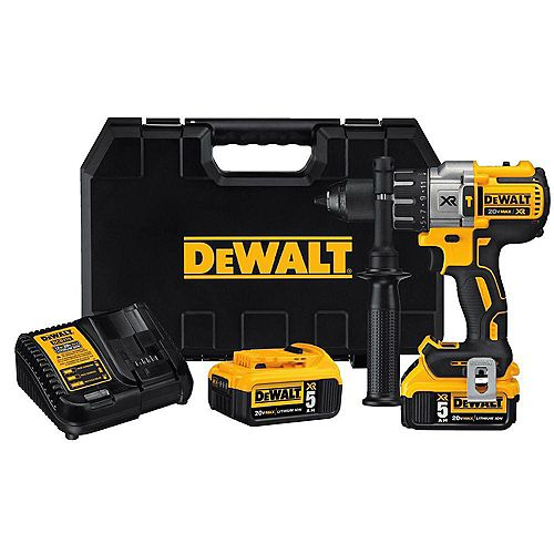 DEWALT 20V MAX XR Li-Ion Cordless Premium Brushless Hammer Drill with (2) Batteries 5Ah, Charger and Case