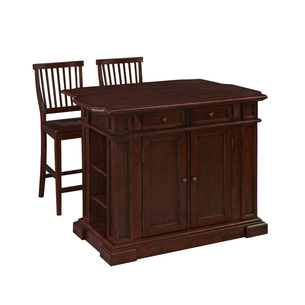 Home Styles Americana 48-inch x 26-inch x 36-inch Hardwood Drop Leaf Kitchen Island in Cherry with 2 Stools