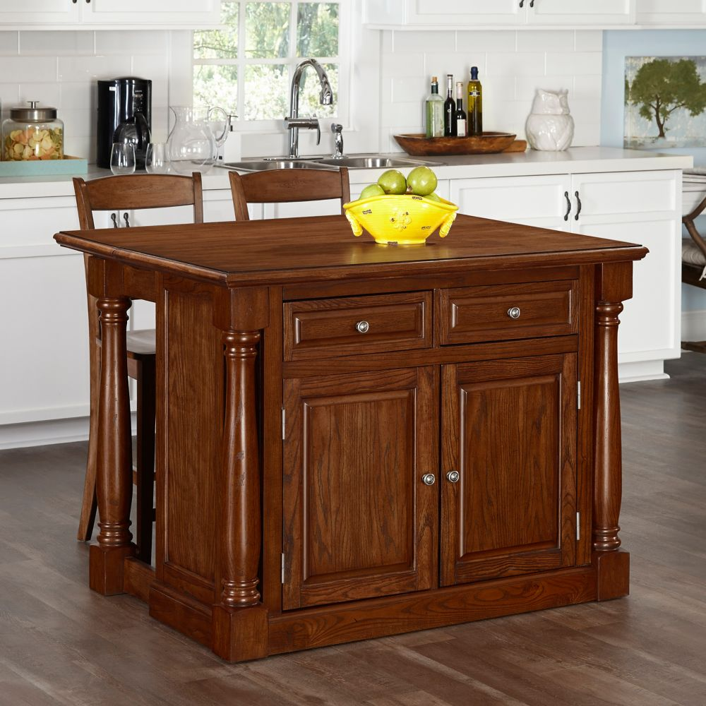 Home Styles Monarch Oak Kitchen Island and Two Stools
