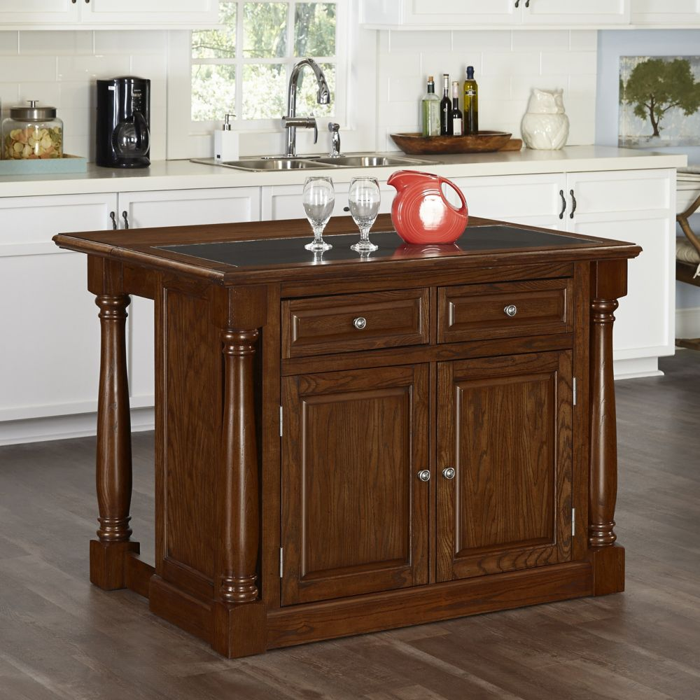 Monarch Oak Kitchen Island w/ Granite Top