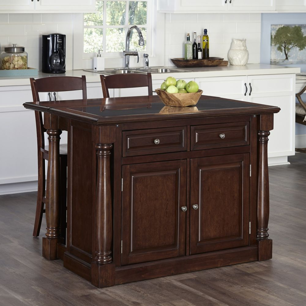 Monarch Cherry Kitchen Island and Two Stools