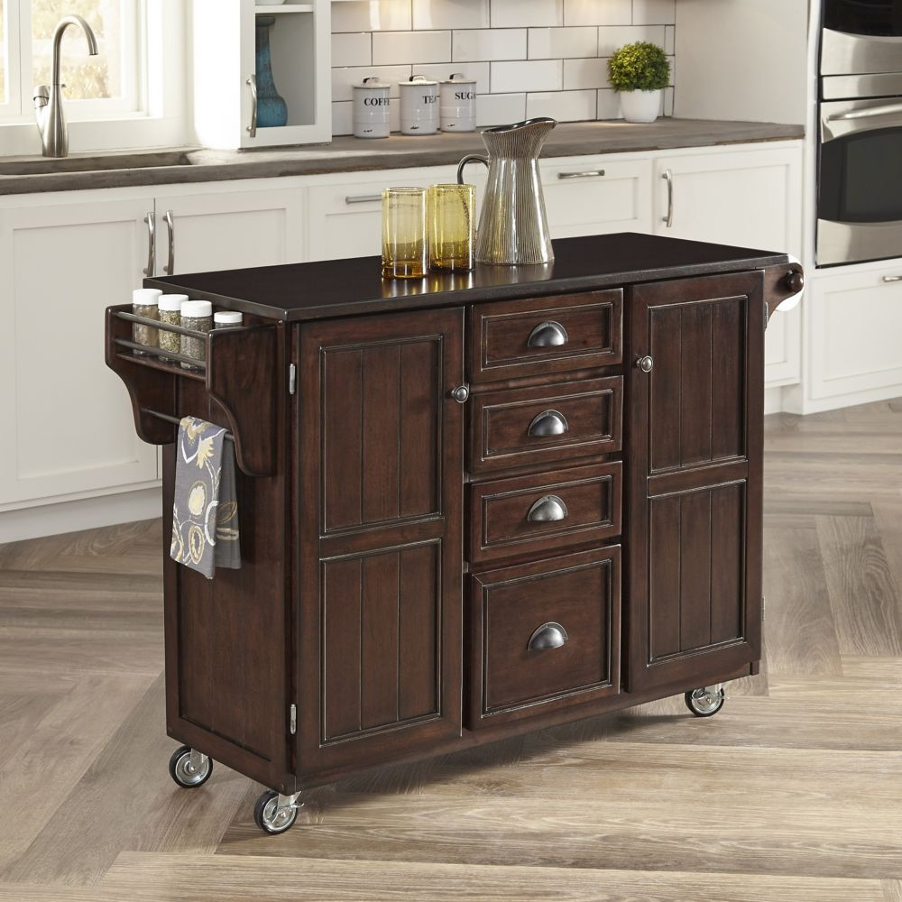 Country Comfort Kitchen Cart w/ Wood Top