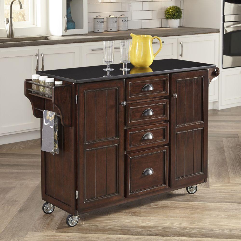 Country Comfort Kitchen Cart w/ Black Granite Top