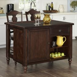 Home Styles Country Comfort Kitchen Island and Two Bar Stools