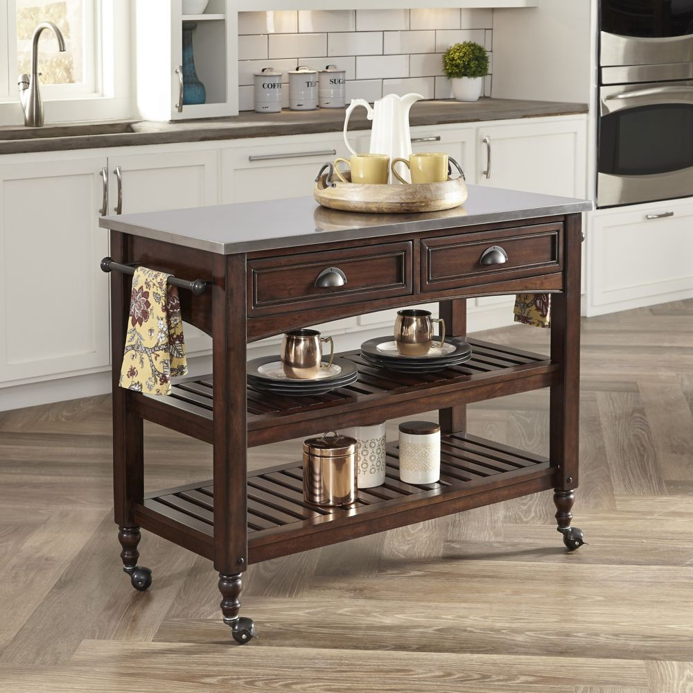 Country Comfort Kitchen Cart w/ Stainless Steel Top