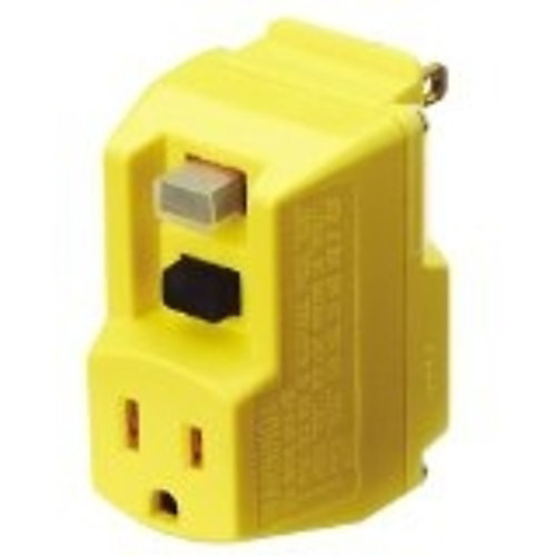 Yellow GFCI Adapter with Manual Reset