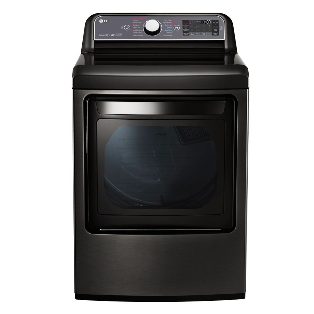 LG Electronics 27-inch 7.3 cu. ft. Front-Load Electric Dryer with TurboSteam in Black Stainless Steel - ENERGY STAR®