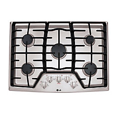 30-inch Recessed Gas Cooktop in Stainless Steel with 5 Burners including 17K SuperBoil Burner