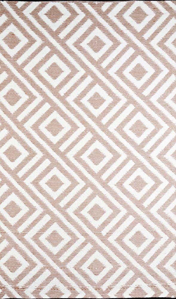 Carpette DExtérieur Reversible Malibu de 6 x 9 pieds Beige/Blanc