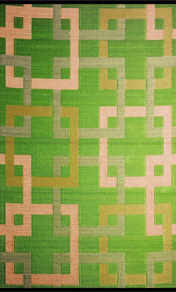 Squares Green/Beige 4 ft. x 6 ft. Outdoor Reversible Area Rug