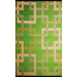 b.b.begonia Squares Green 4 ft. x 6 ft. Indoor/Outdoor Contemporary Rectangular Area Rug