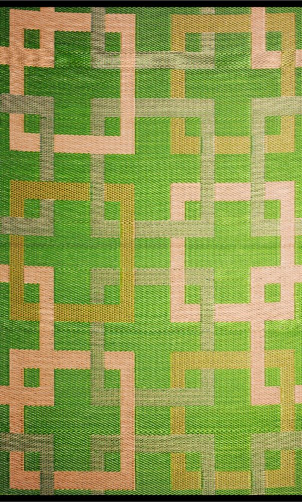 Squares Green/Beige 6 x 9 feet Outdoor Reversible Area Rug