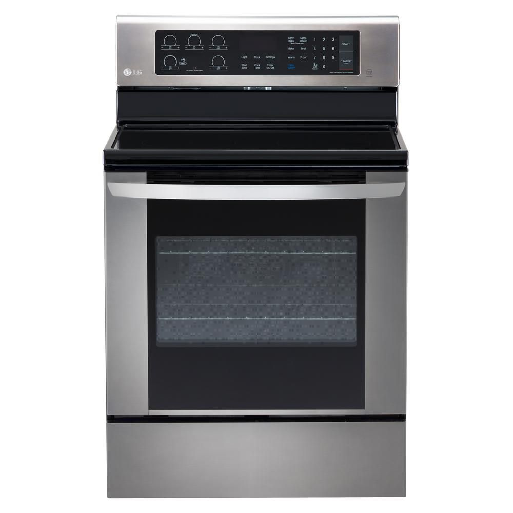 LG Electronics 6.3 cu. ft. Electric Single Oven Range with True Convection and EasyClean in Stainless Steel