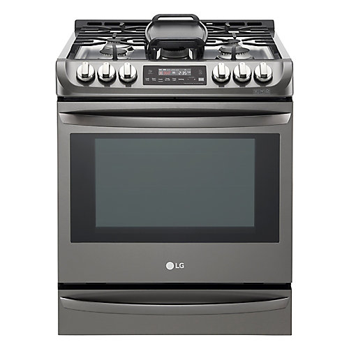 6.2 cu. ft. Gas Slide-In Range Single Oven with ProBake Convection in Black Stainless Steel