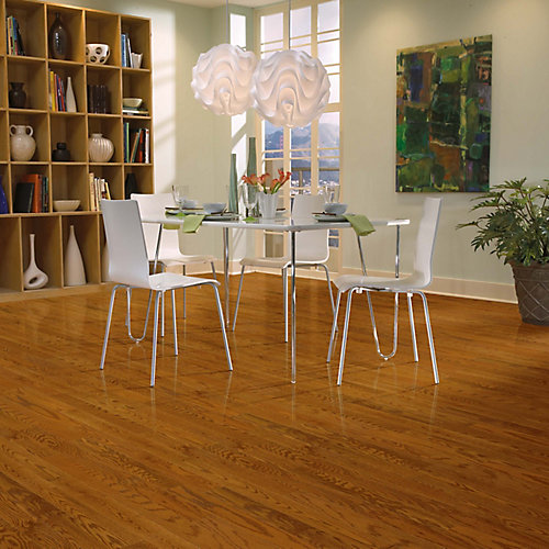 Plancher, bois massif, 3 1/4 po x 3/4 po x longueurs variées, Chêne blanc Gunstock, 22 pi2/boîte