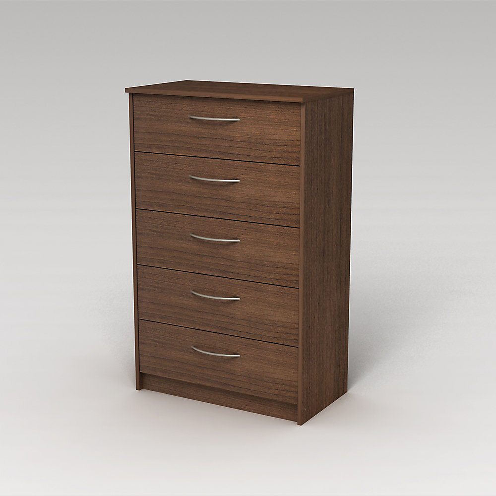 Finch 27 5-inch x 44 5-inch x 15 63-inch 5-Drawer Dresser in Brown