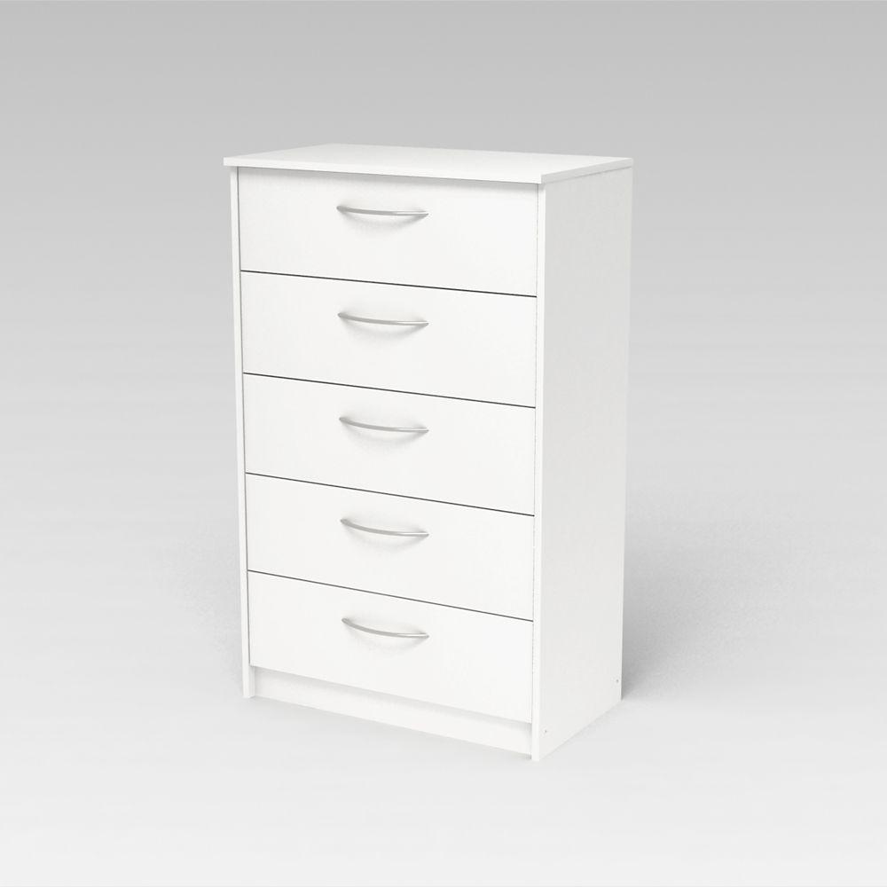 Chiffonnier Finch à 5 tiroirs, blanc antique