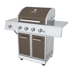 Dyna-Glo 4-Burner Propane Gas BBQ in Bronze with Stainless Steel Control Panel and Side Burner