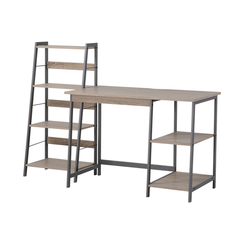 2-PC Laptop Desk & 4-Shelf Bookcase Set in Reclaimed Wood