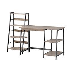 Homestar Laptop Desk and 4-Shelf Bookcase Set in Reclaimed Wood (2-Piece)